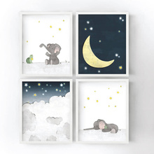 Cartoon Elephant Star Moon Wall Art Canvas Painting Nordic Posters And Prints Cute Animals Pictures For Kids Room Decor