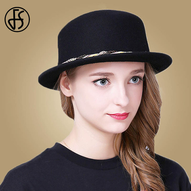 11e755b433c FS Winter Lady 100% Wool Felt Bowler Fedora Hats Women Vintage Blue Pink  Camel Black Floppy Elegant Hat With Ribbon Cloche Cap