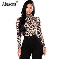 Abasona Leopard Women T Shirt Long Sleeve Turtleneck Women Tops Autumn Winter Sexy Tee Shirt Femme
