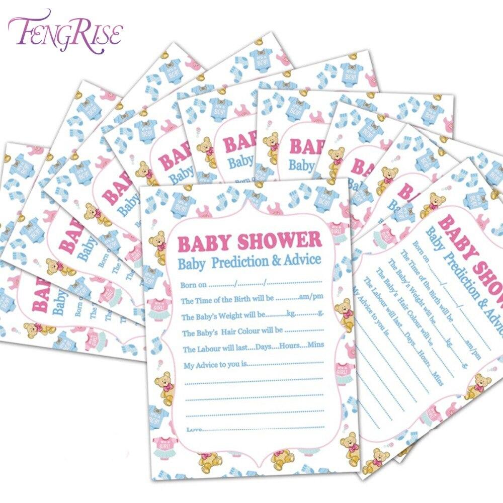 FENGRISE Baby Shower 10 pcs Prediction Advice Souvenir Game Girl Cards Mom To Be Decorations New Mummy Event Party Supplies Boy чехол для планшета it baggage itssgt1035 1 для galaxy tab4 tab3 10 1 slim черный itssgt1035 1