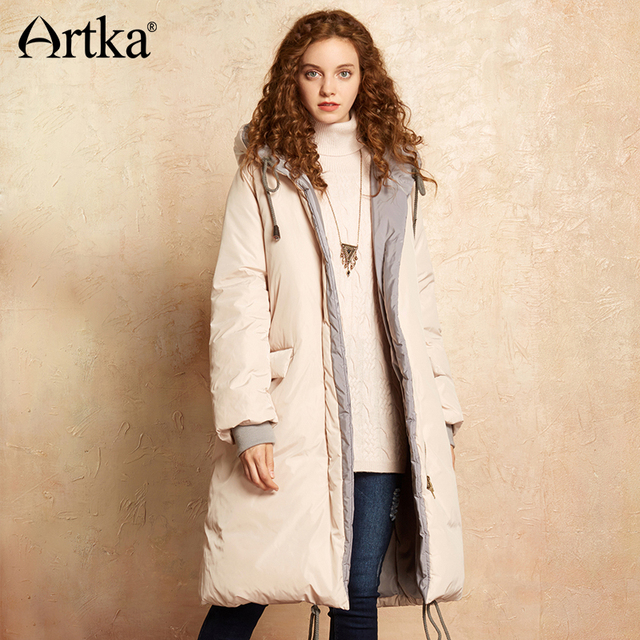 Artka Зимняя парка Для женщин Длинная Куртка 2017 с капюшоном Пух пальто лоскутное ветровка Женская Пух куртка теплая верхняя одежда ZK10075D