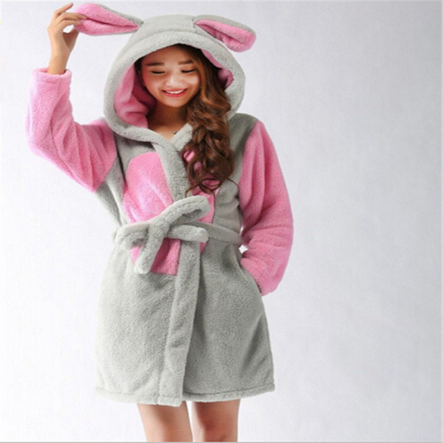Bath Robe Hooded Robes For Women Dressing Gown Warm Bathrobe Coral ...