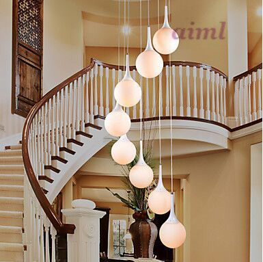 Creative Modern Pendant Light with 8 Lights in White Globe Shade 110-240v Free shipping
