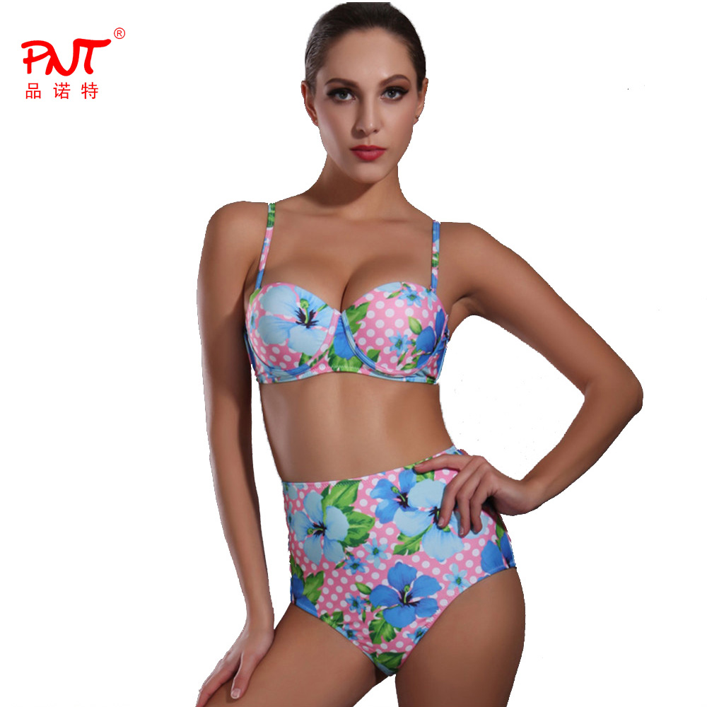 PNT Official Store PNT177 Womens Swimwear High Waisted Two Piece Swimsuits Dot Print Sexy Bikini 2017 Summer Branded Biquinis SLENDER Beach Wear
