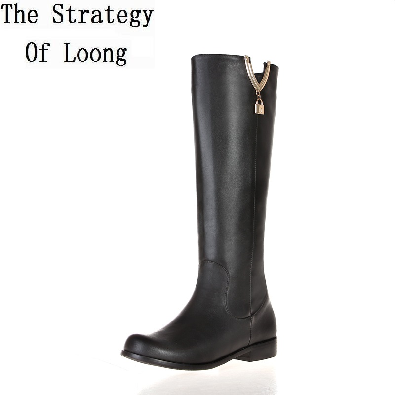 Women Winter Genuine Leather Flat Heel Round Toe Side Zipper Fashion Knee High Boots Plus Size 33-45 SXQ1007 women winter genuine leather thick high heel side zipper round toe fashion mid half boots plus size 34 45 sxq1007