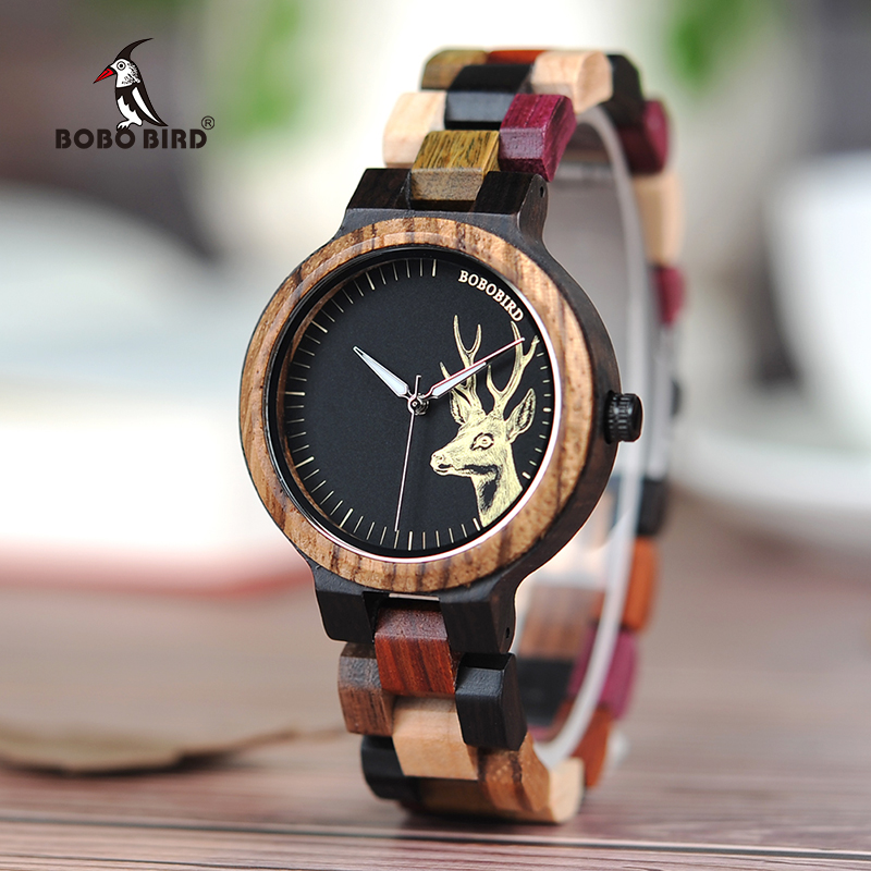BOBO BIRD WP14-2 P14-3 Lovers Quartz Watches for Men Women Elk Dial Natural Wooden Watch with Colorful Mixed Wooden Band bobo bird wp14 2 p14 3 lovers quartz watches for men women elk dial natural wooden watch with colorful mixed wooden band