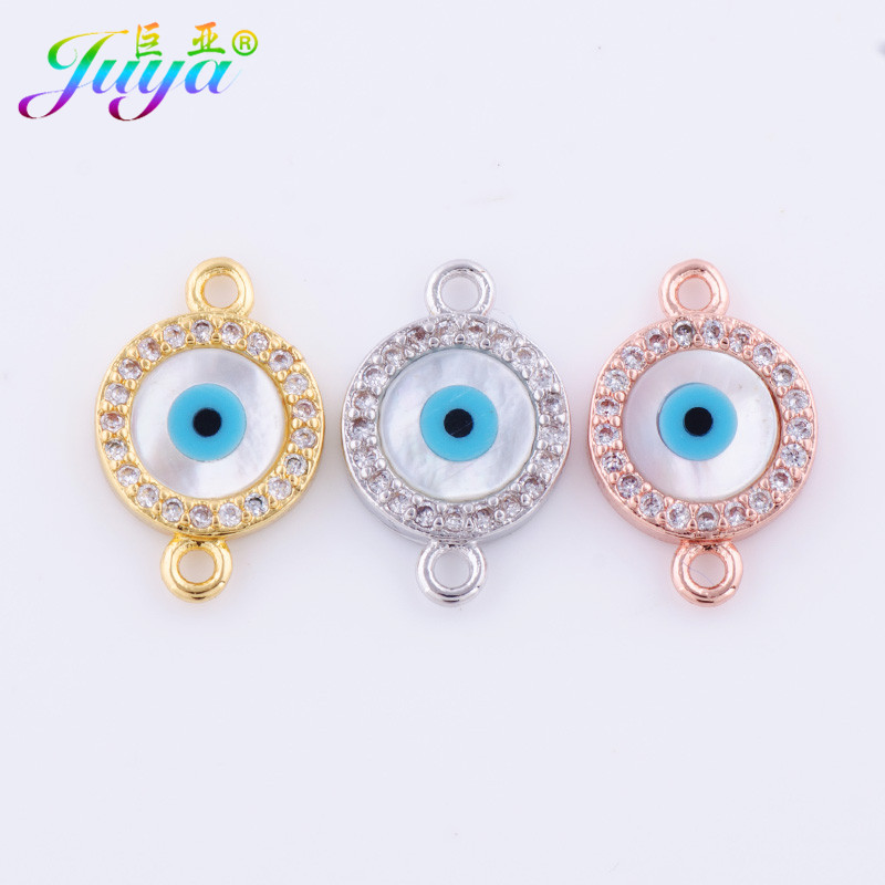 DIY Jewelry Component Supplies Copper Connector Shell Evil Eye Charm Accessories For Needlework Bracelet Necklace Earring Making