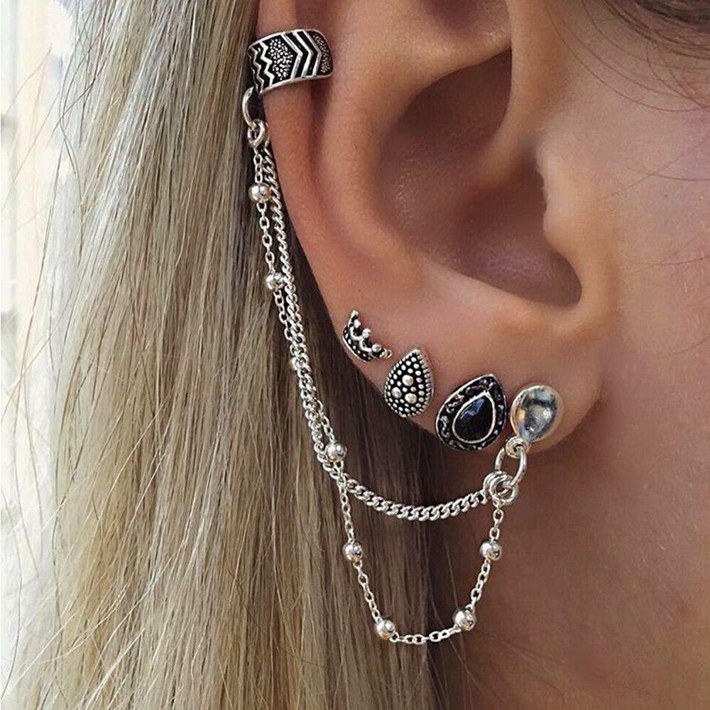 Octbyna Vintage 4pcs /set Flowers Earrings Boucle Doreille Ethnique Clip on Earrings Set Bohi Ear Rings for Women