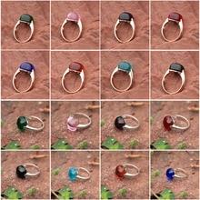 8 цветные кольца для Для женщин Обручение большой синий красный прозрачный камень женское кольцо с Цирконом Свадебные Bague Размеры 6 7 8 9 10 11 12
