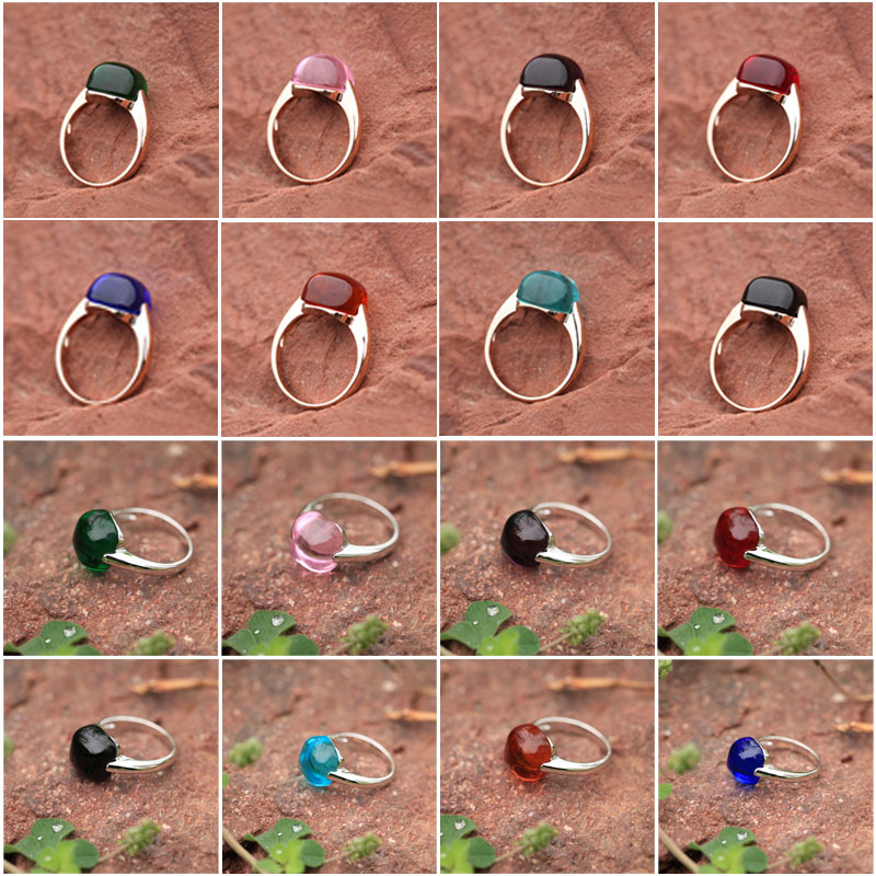 2017 8 color Rings For Women Engagement Big Blue Red Crystal Stone Zircon Ring Women Wedding Bridal Bague Size 6 7 8 9 10 11 12
