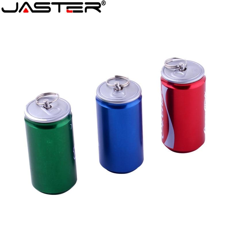 JASTER Fashion Hot Coke Cans Head Metal Model External Storage Stick USB 2.0 4GB 8GB 16BG 32GB 64GB USB Flash Drive