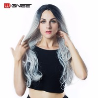 Long Body Wave Natural Black Root To Light Grey Synthetic Ombre Wigs For Black Women Hair