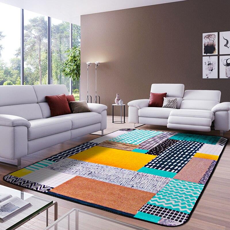 Style européen tapis de zone rectangulaire multicolore luxe motif géométrique tapis antidérapant lavable Durable tapis de zone pour salon