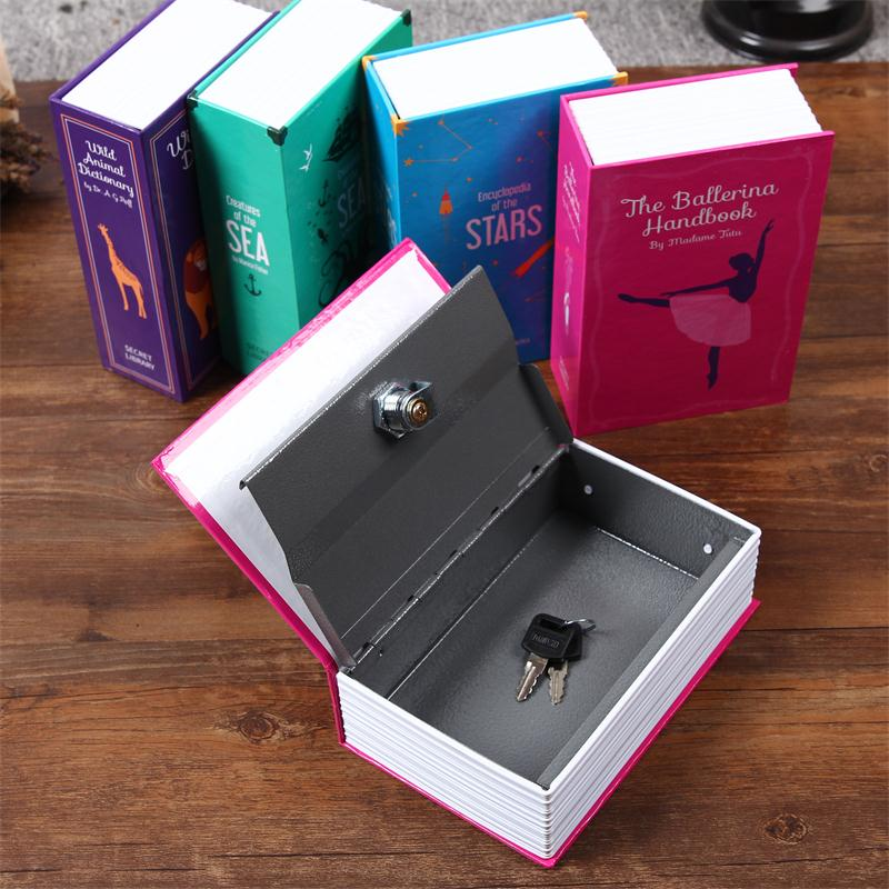 Size S 4/Color Hidden Box Security Lock Key Lock Strongbox Steel Simulation Book New Fashion Design 118*115*55mm