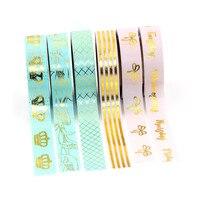 NEW 6X 15mm Gold Foil Washi Tapes Set For Decoration Print Craft Scrapbook DIY Sticky Deco