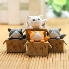 Kawaii Cat 4pcs/set Cosplay Mini PVC Action Figures Toys Moss Bonsai Small Landscape Animals Model Decoration Toy