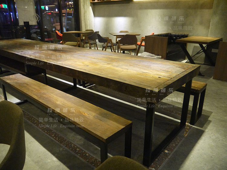 American Country Wood Tables Long Table Dessert Coffee Cafe - Long cafe table
