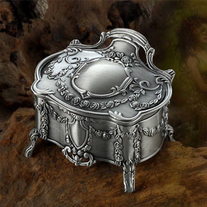 763bbfd8e80e QiQiWu Vintage Jewellery Case Box White Enamel Silver Color Zinc-alloy  Metal Trinket Box Flower Carved Widding Gift Storage Box