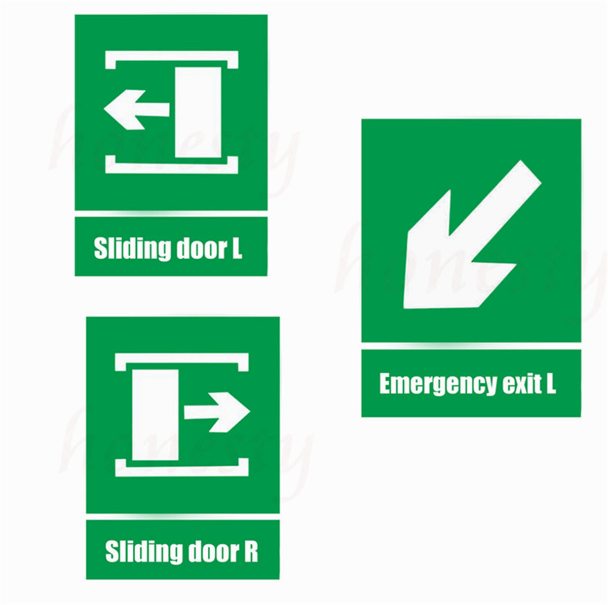 Sliding door green fire sign self adhesive stickers for walls warning safety sign sticker emergency