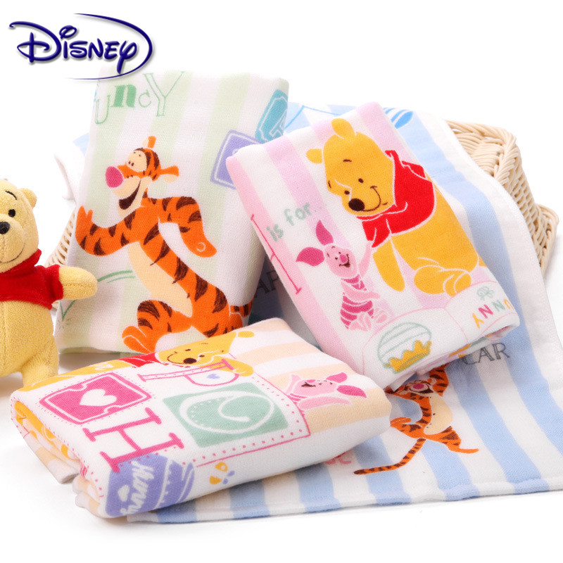 Disney Winnie The Pooh Towel Boy And Girl Baby Fund Gauze Child-towel Pure Cotton Small Towel 25*50cm