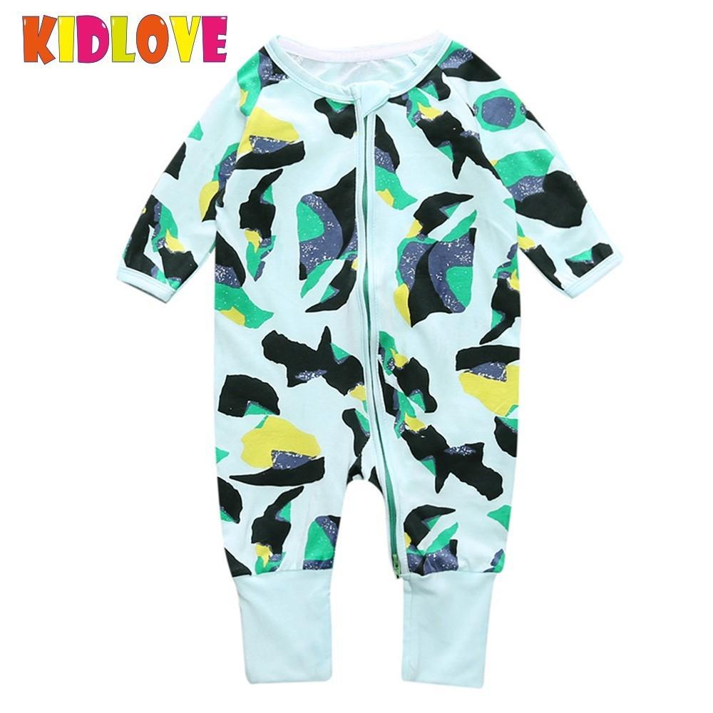 Kidlove Baby Newborn Unisex Cute Soft Cotton Jumpsuit Long Sleeve Zipper Closure Graffiti Printed Rompers Outdoor Clothes ZK30