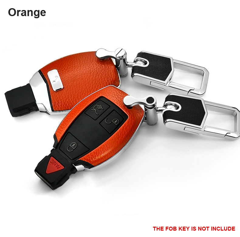 Orange Smart Leather+ Hard Plastic Car Key Cover Case Holder Fits Mercedes Benz key AMG Class C E S GL CLA