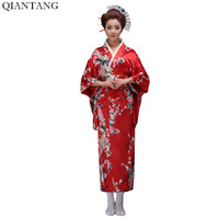 Red Classic Japanese Women Vintage Yukata Kimono With Obi Stage Performance Dance Costumes One Size H0029
