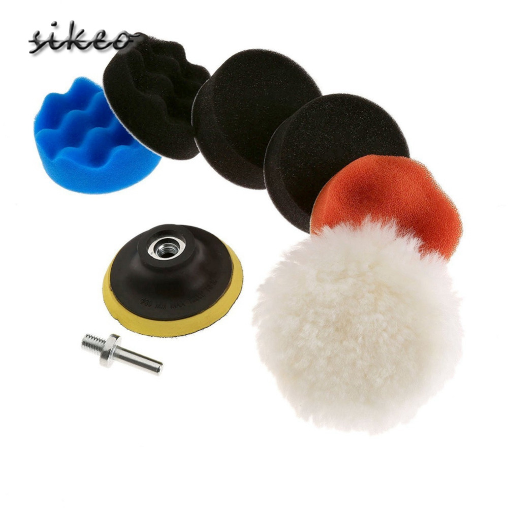 Free Ship SIKEO 7pcs Polishing Buffing Pad Kit For Auto Car Polishing Wheel Kit Buffer With Drill Adapter Car Removes Scratches