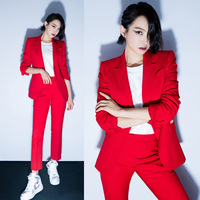Women's Office Lady Two Pieces Sets Solid Red Elegant Single Breasted Turn-Down Collar Blazers And Full Length Trousers
