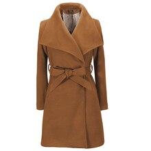 Abriogs Mujer 2016 New Autumn Winter Women's Fashion Wool Coat Elegant Min Long Woolen Jacket Outwear Tops Free Belt