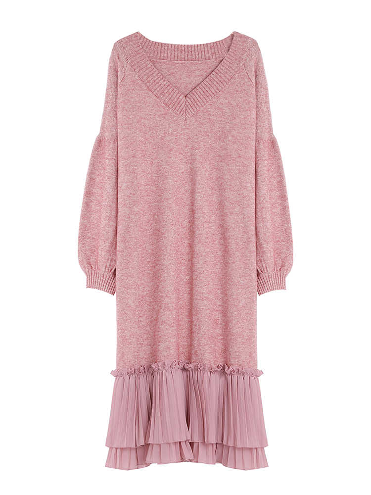 Осенне-зимнее розовое трикотажное платье-свитер для беременных с v-образным вырезом, Свободное длинное платье, одежда для беременных женщин, осенняя элегантная одежда для беременных