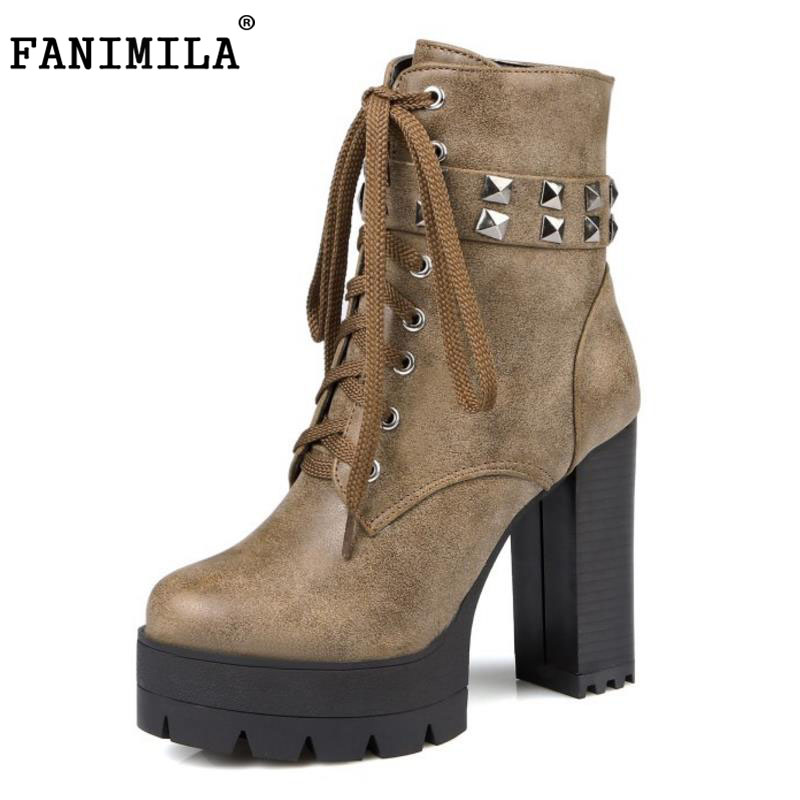 FANIMILA Size 33-43 Women Half Short Boots Platform Rivet Cross Strap High Heel Boots Warm Fur Shoes For Cold Winter Women Botas coolcept size 34 43 women half short thick bottom boots cross strap warm shoes cold winter boots mid calf botas women footwear