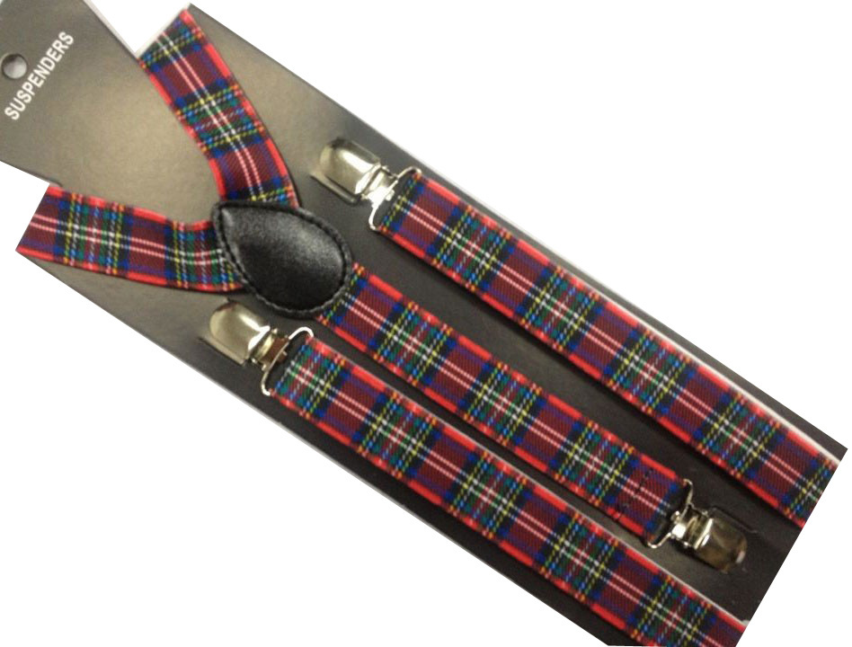 Men's Suspenders Winfox New Fashion 1 Inch Wide Adjustable Clip-on Turban Checked Red Plaid Braces For Kids Boys Girls Men's Accessories