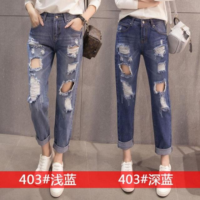 free shipping Autumn and summer big hole whisker jeans trousers female s jeans