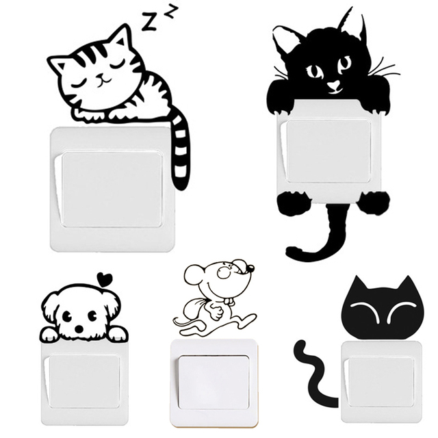 DIY Funny Cute Black Cat Dog Rat Mouse Animls Switch Decal Wall Stickers Home Decals Bedroom Kids Room Light Parlor Decor DIY Funny Cute Black Cat Dog Rat Mouse Animls Switch Decal Wall Stickers DIY Funny Cute Black Cat Dog Rat Mouse Animls Switch Decal Wall Stickers HTB1
