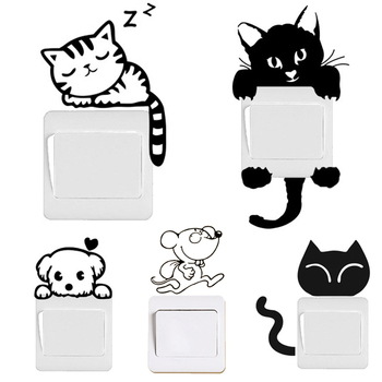 DIY Funny Cute Black Cat Dog Rat Mouse Animls Switch Decal Wall Stickers Home Decals Bedroom
