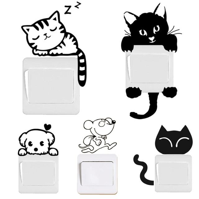Black Cat & Dog Rat Mouse Switch Decals 17*7cm