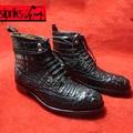 Роскошный на заказ goodyear welted сапоги мужчины уникальный крокодиловой кожи кожаные сапоги черная кожа аллигатора кожа обувь для boss индийский
