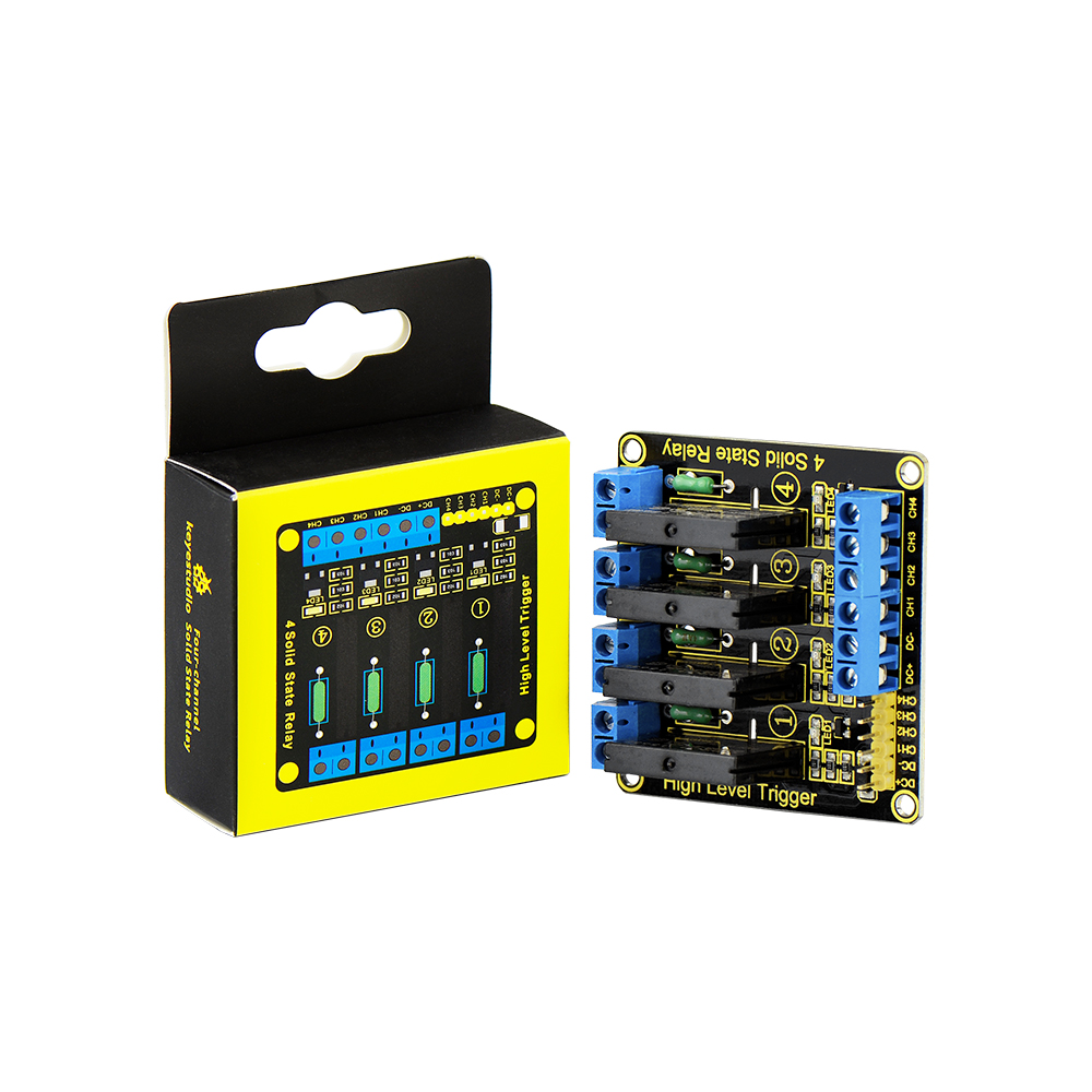 Keyestudio 5v 2a 4 Channel Solid State Relay Module High Level German Trigger Black For Arduino Uno Mega2560 Mega1280 Arm Dsp Pic In Home Automation Modules From
