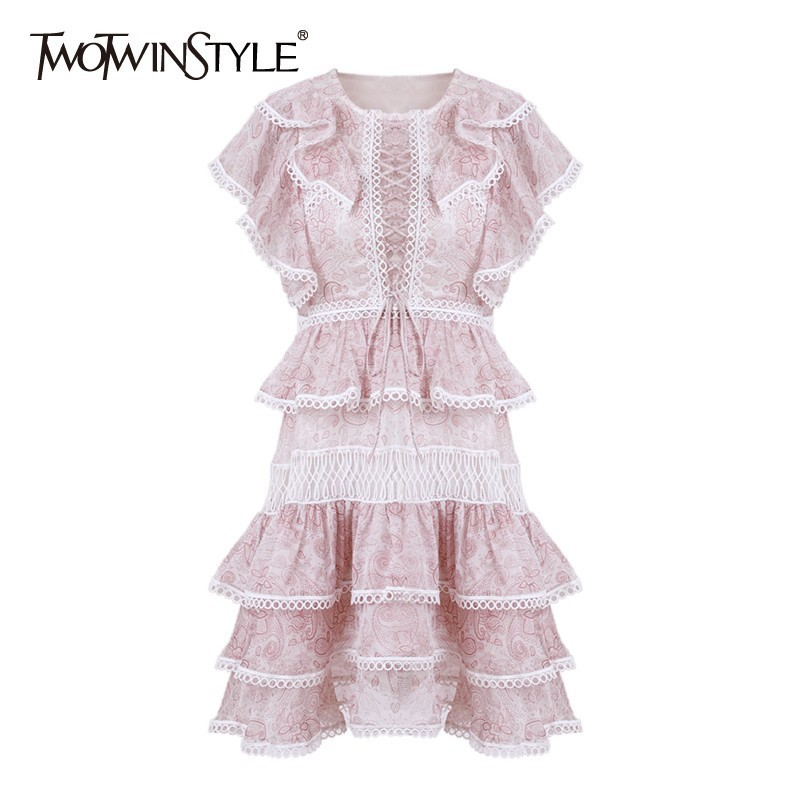 TWOTWINSTYLE Elegant Print Women Dress O Neck Short Sleeve High Waist Ruffles Hollow Out Slim Mini