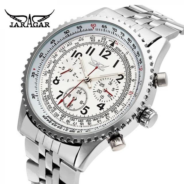 Montre Jaragar de marque de luxe en acier inoxydable montre automatique hommes montre-bracelet hommes montres mécaniques horloge relogio masculino