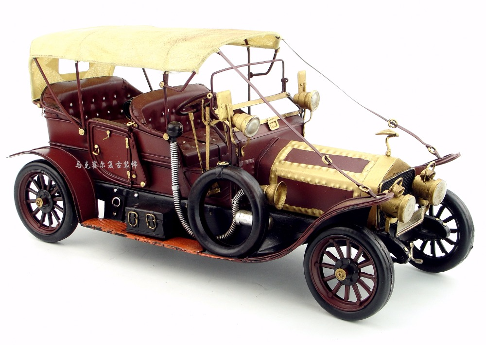 Antique classical car model retro vintage wrought metal crafts for home/pub/cafe decoration or birthday gift
