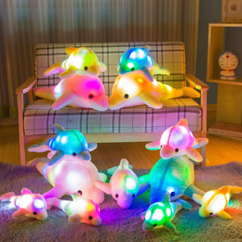 1pc 32cm Cute Creative Luminous Plush Toy Dolphin Doll Glowing LED Light Animal Toys Colorful Doll Pillow Children's Lovely Gift creative led light pillow cushion night light cute glowing dolphin stuffed luminous plush doll toy girl birthday kids gift