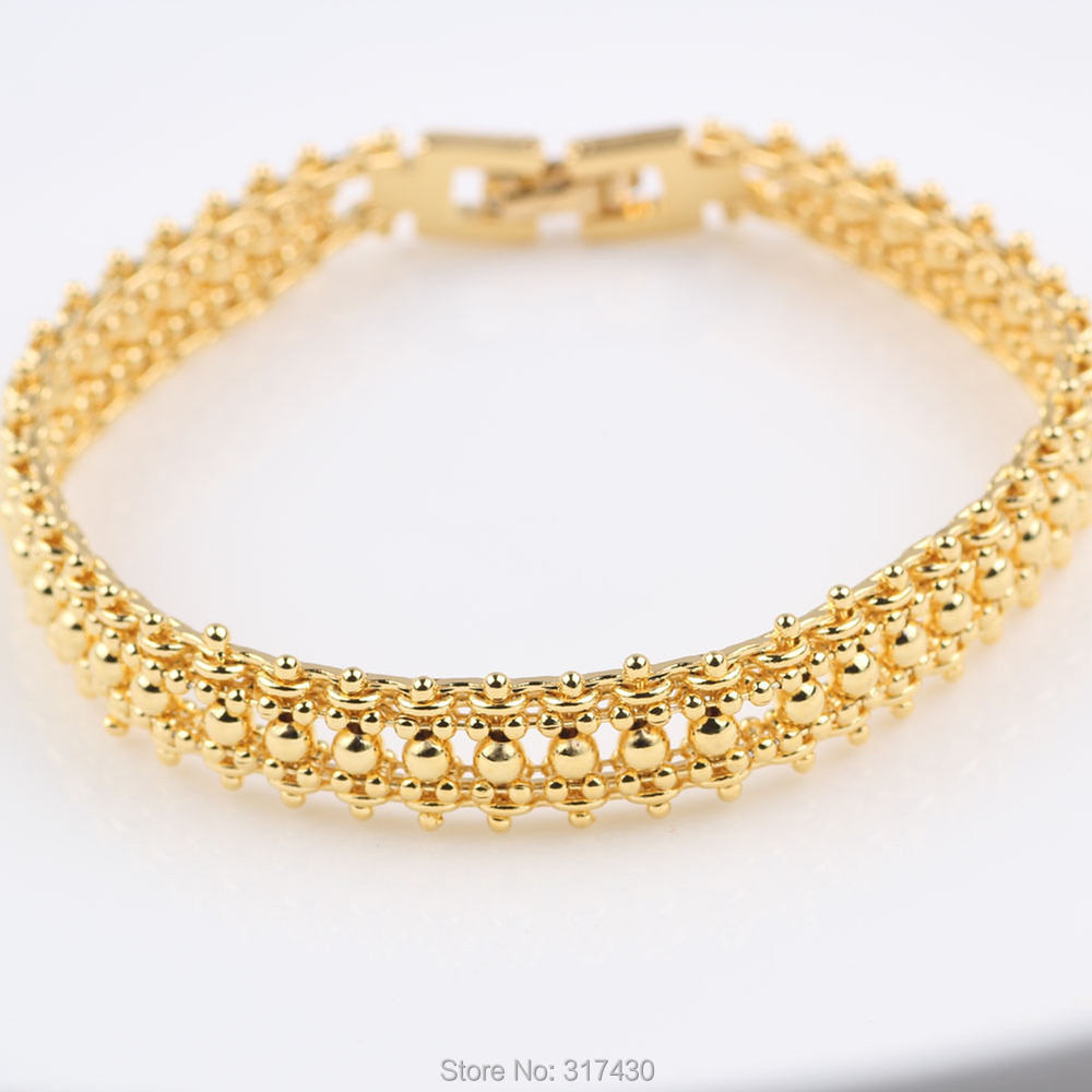 Charm Bracelet 24k Yellow Gold Filled womens or Girls Beads Link ...
