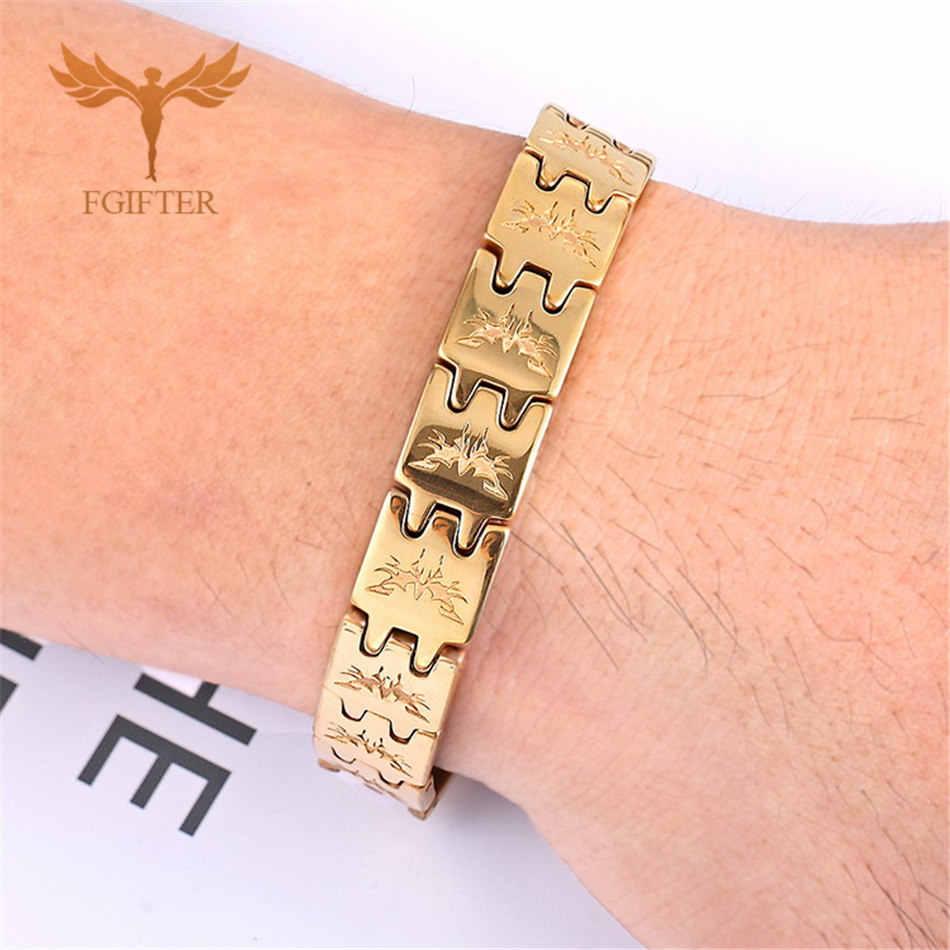 Fajne złoto kolor łańcuch bransoletka mężczyźni Fashion Design stal wolframowa bransoletki magnetyczne i Bangles męski prezent