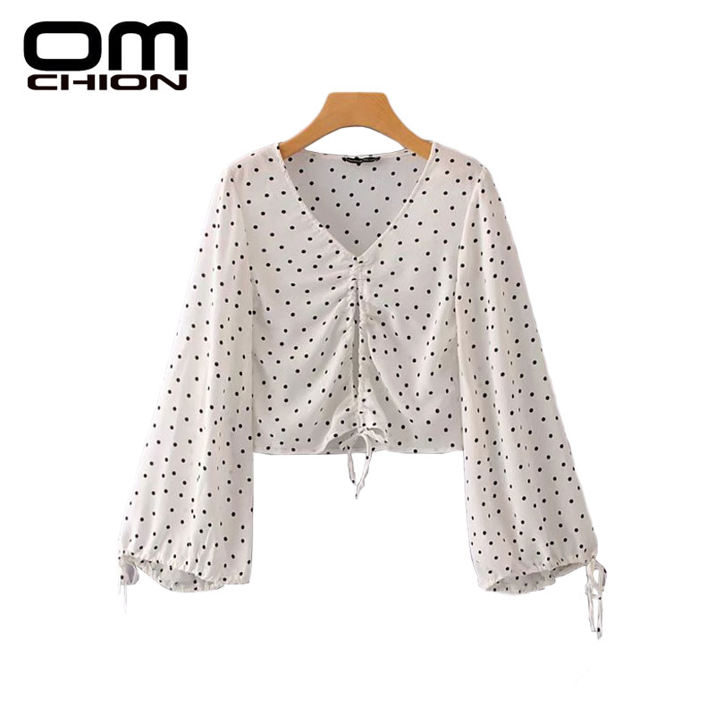 bdcfb01a2802 OMCHION Dot Summer Print 2018 Women Blouse Long Flare Sleeve Beach Casual  Tops Simple V-Neck Rope Korean Blusa Feminina LK257