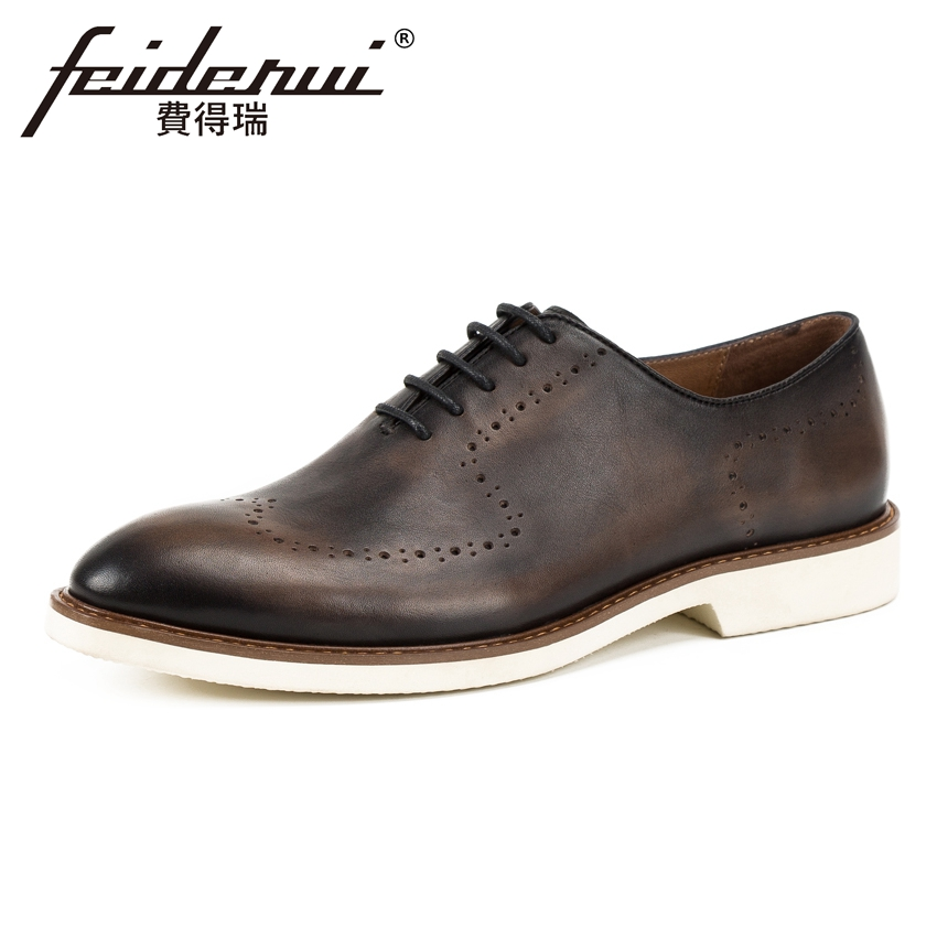 Vintage Genuine Leather Men's Handmade Oxfords Breathable Round Toe Lace-up Man Carved Formal Dress Wedding Brogue Shoes KUD149 us6 10 men s pointy toe pu leather shoes lace up brogue wing tips formal dress wedding shoes casual oxfords