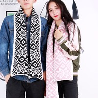 Christmas New Autumn Winter Scarves Knitted Wool Black Couple Collar Unisex Pashmina Couples Scarf Winter Style
