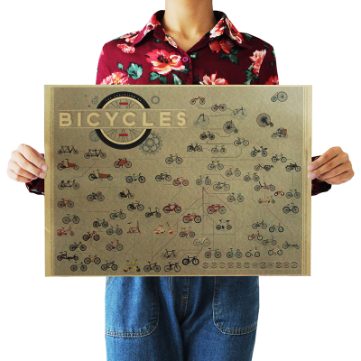 Bicycle evolution fans Favourite Vintage Kraft Paper Poster Bar Wall Decoration Wall Sticker 42X30CM