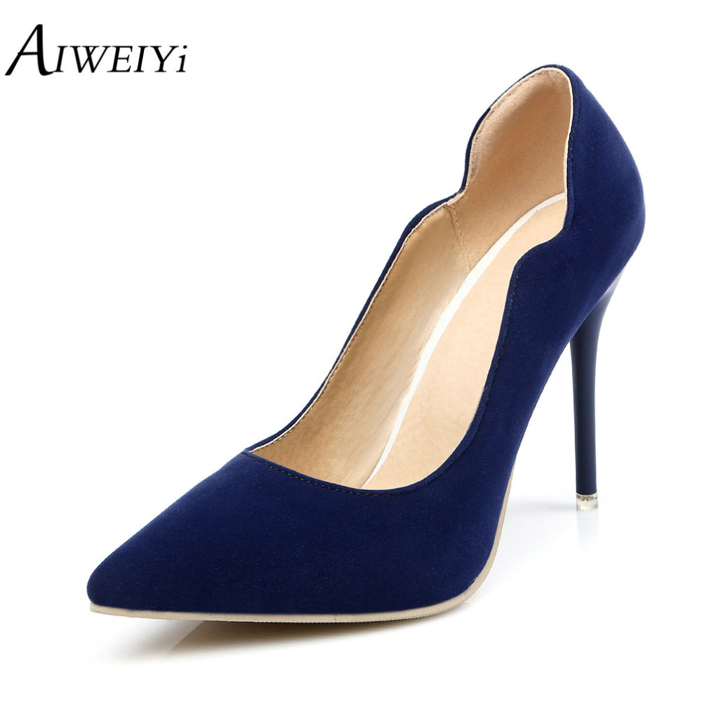 ФОТО AIWEIYi Womens Spring Fall High Heeled Shoes Pointed toe Slip on Patent Platform Pumps Shoes Stiletto High Heels Casual Shoes